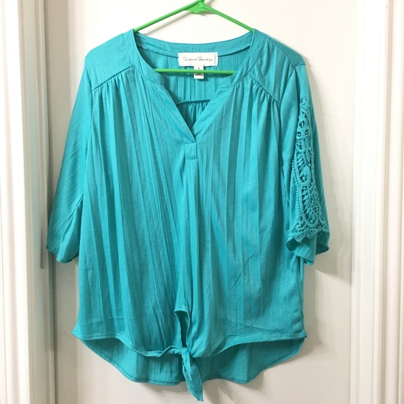 French Laundry Tops - French Laundry Green Lace Tie Blouse